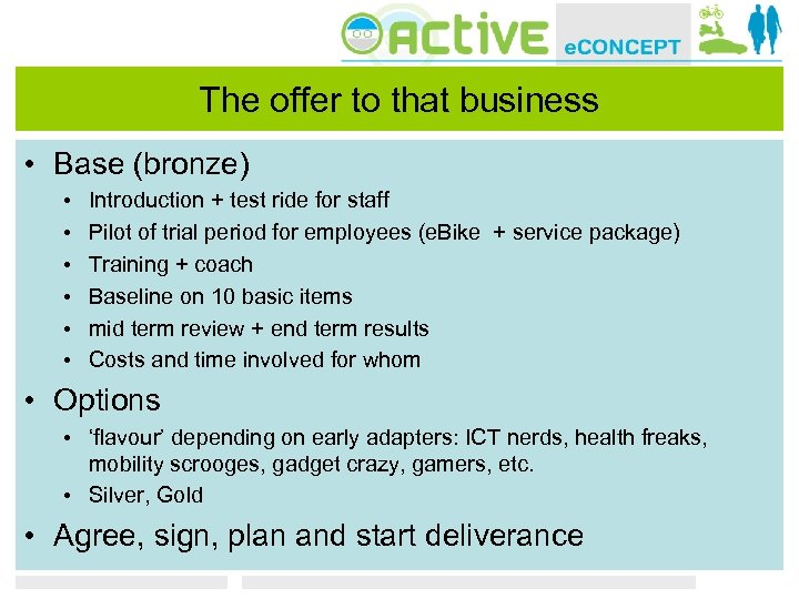 The offer to that business • Base (bronze) • • • Introduction + test