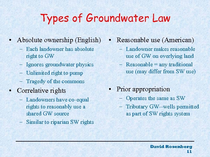 Types of Groundwater Law • Absolute ownership (English) – Each landowner has absolute right