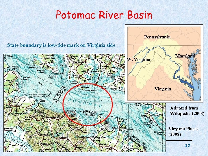 Potomac River Basin Pennsylvania State boundary is low-tide mark on Virginia side Maryland W.