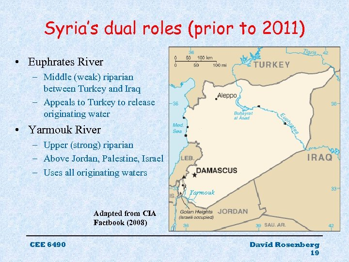 Syria's dual roles (prior to 2011) • Euphrates River – Middle (weak) riparian between