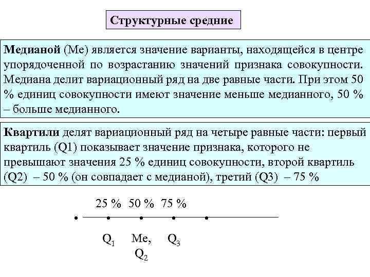 Структурные средние Медианой (Ме) является значение варианты, находящейся в центре упорядоченной по возрастанию значений