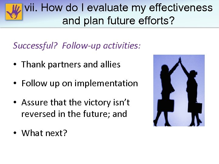 vii. How do I evaluate my effectiveness and plan future efforts? Successful? Follow-up activities: