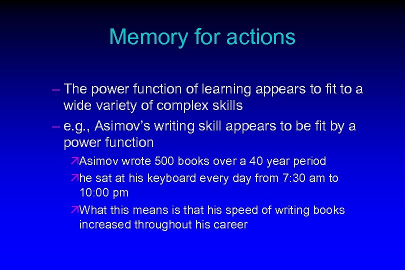 Memory for actions – The power function of learning appears to fit to a