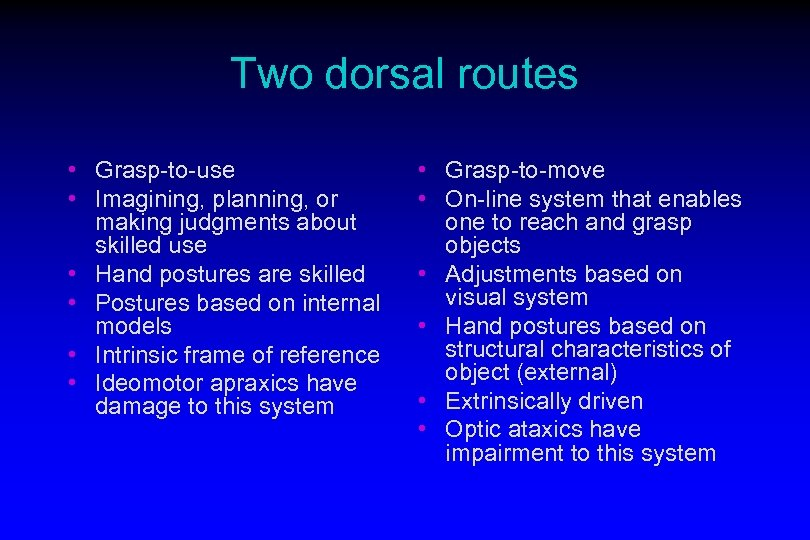 Two dorsal routes • Grasp-to-use • Imagining, planning, or making judgments about skilled use