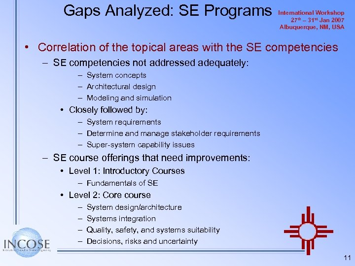 Gaps Analyzed: SE Programs International Workshop 27 th – 31 st Jan 2007 Albuquerque,