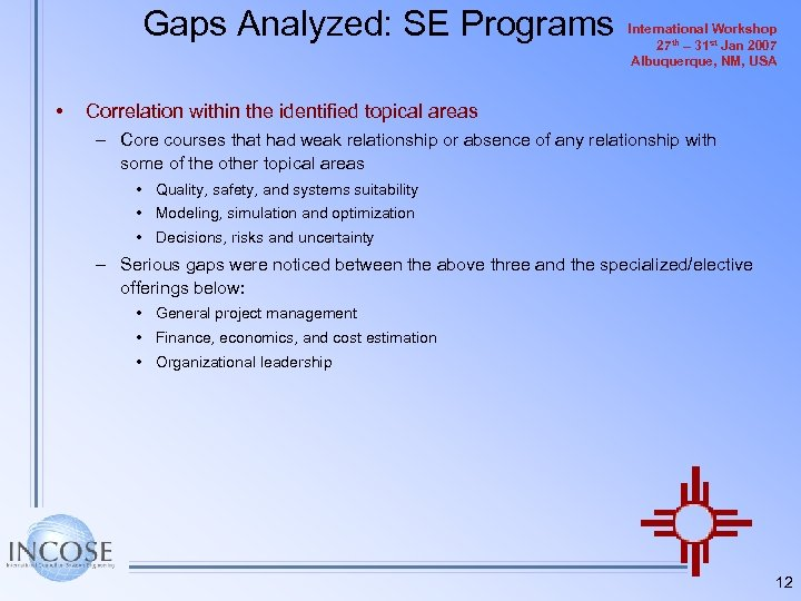 Gaps Analyzed: SE Programs • International Workshop 27 th – 31 st Jan 2007