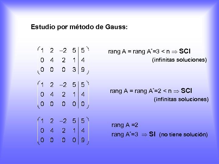 Estudio por método de Gauss: rang A = rang A*=3 < n SCI (infinitas