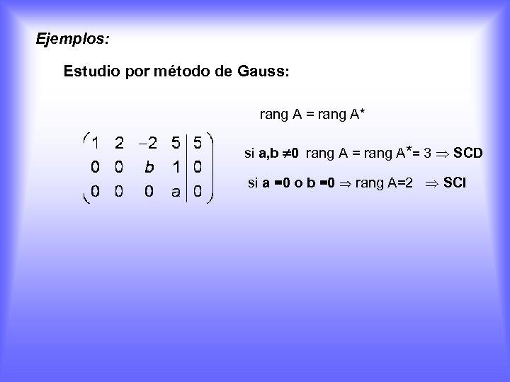 Ejemplos: Estudio por método de Gauss: rang A = rang A* si a, b