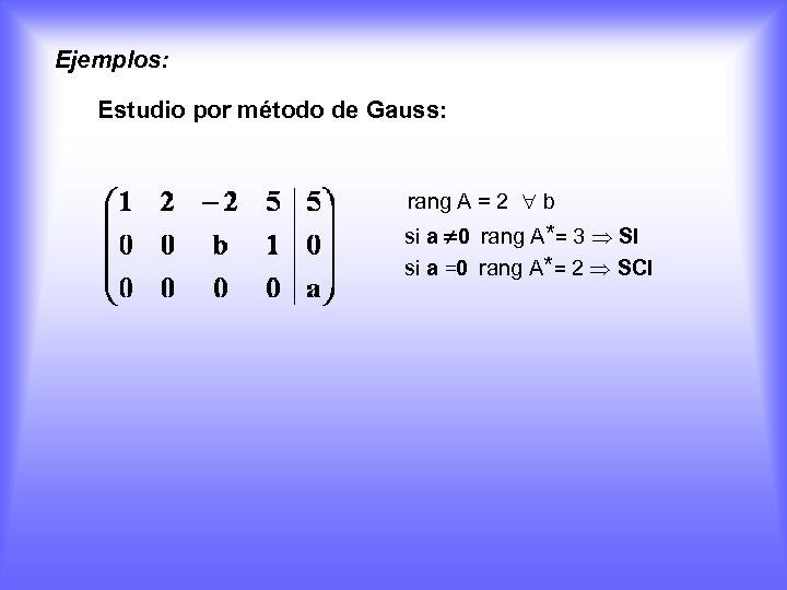 Ejemplos: Estudio por método de Gauss: rang A = 2 b si a 0