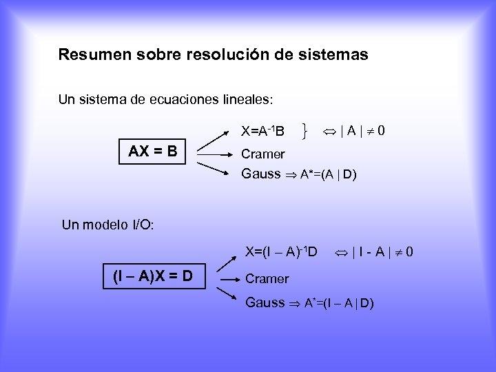 Resumen sobre resolución de sistemas Un sistema de ecuaciones lineales: X=A-1 B AX =