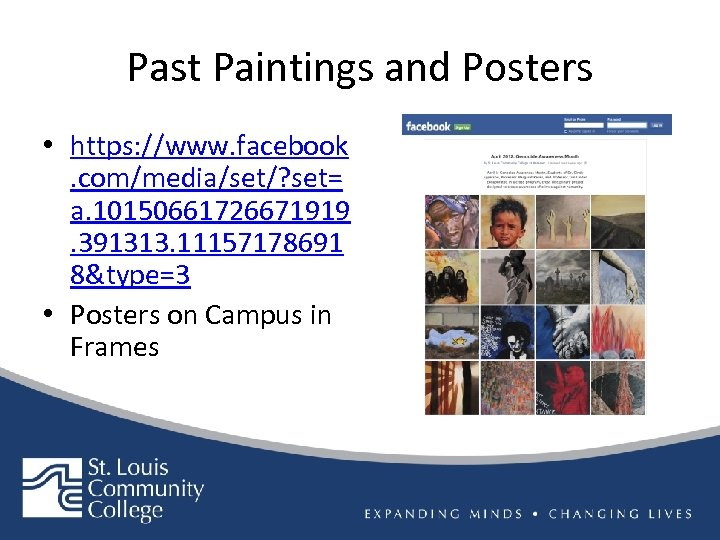 Past Paintings and Posters • https: //www. facebook. com/media/set/? set= a. 10150661726671919. 391313. 11157178691