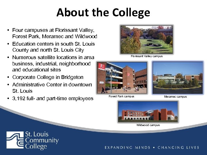 About the College • Four campuses at Florissant Valley, Forest Park, Meramec and Wildwood