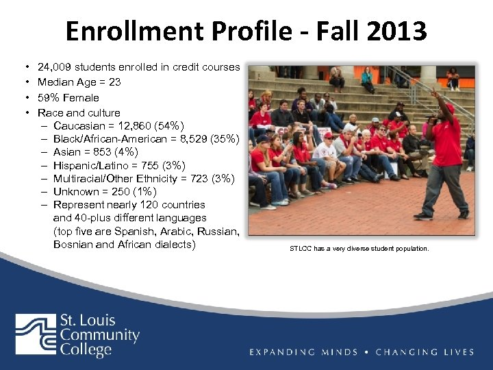 Enrollment Profile - Fall 2013 • • 24, 009 students enrolled in credit courses