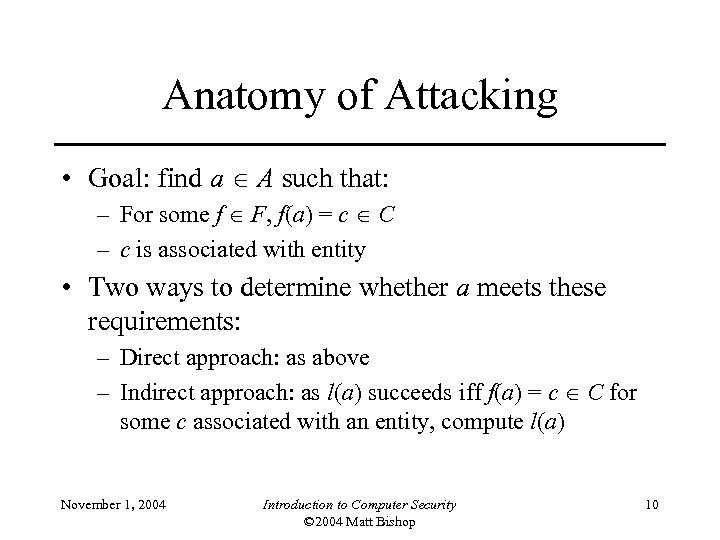 Anatomy of Attacking • Goal: find a A such that: – For some f