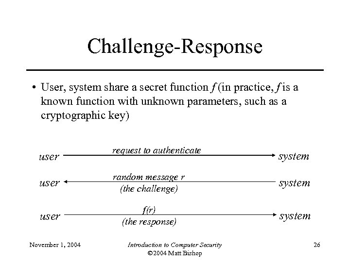 Challenge-Response • User, system share a secret function f (in practice, f is a