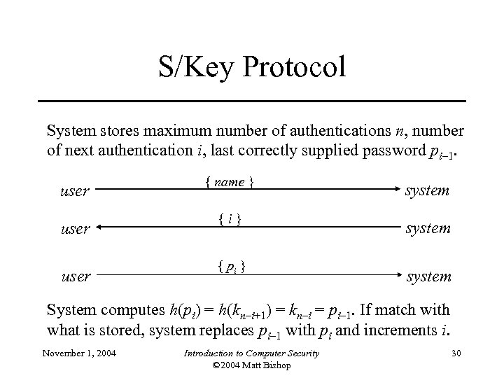 S/Key Protocol System stores maximum number of authentications n, number of next authentication i,