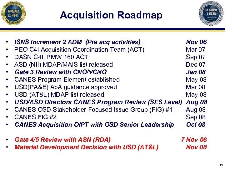 Acquisition Roadmap • • • ISNS Increment 2 ADM (Pre acq activities) PEO C