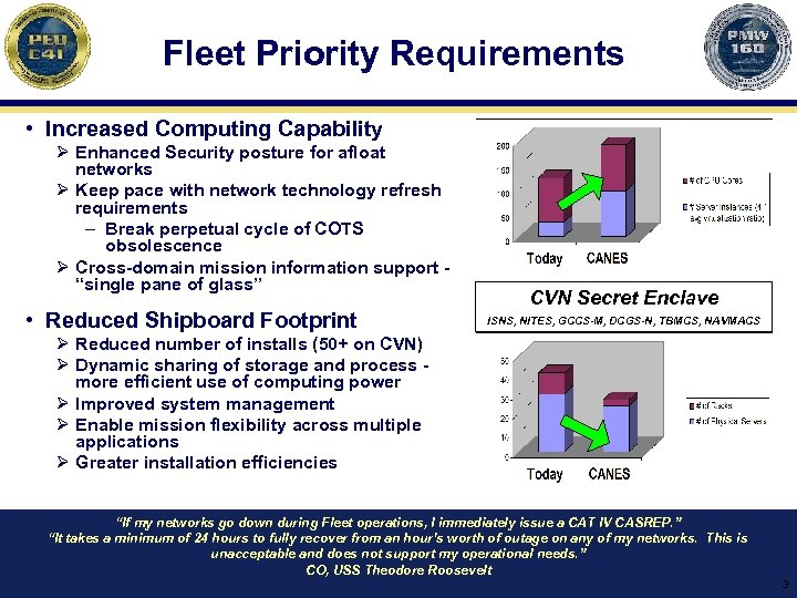 Fleet Priority Requirements • Increased Computing Capability Ø Enhanced Security posture for afloat networks