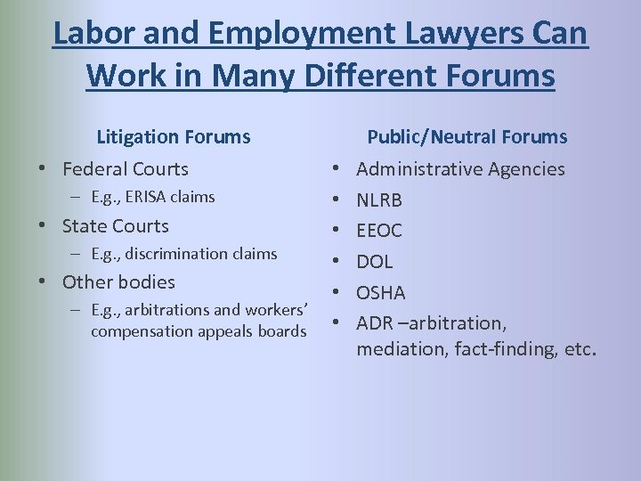 Labor and Employment Lawyers Can Work in Many Different Forums Litigation Forums • Federal
