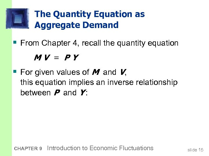 The Quantity Equation as Aggregate Demand § From Chapter 4, recall the quantity equation