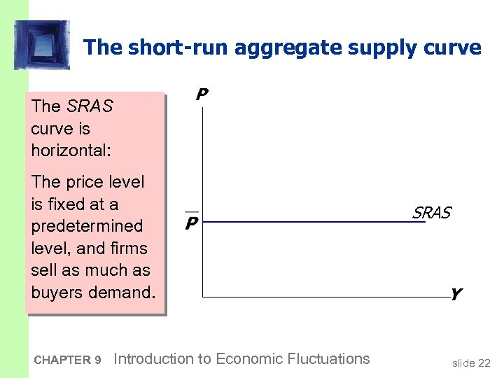 The short-run aggregate supply curve P The SRAS curve is horizontal: The price level