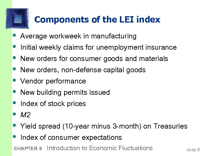 Components of the LEI index § § § § § Average workweek in manufacturing