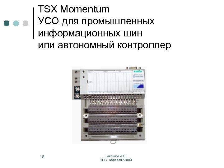 TSX Momentum УСО для промышленных информационных шин или автономный контроллер 18 Гаврилов А. В.