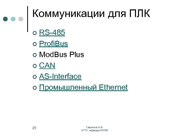 Коммуникации для ПЛК RS-485 ¢ Profi. Bus ¢ Mod. Bus Plus ¢ CAN ¢