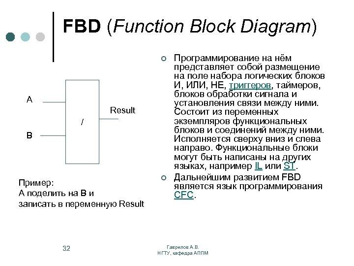 FBD (Function Block Diagram) ¢ A Result / B Пример: A поделить на B