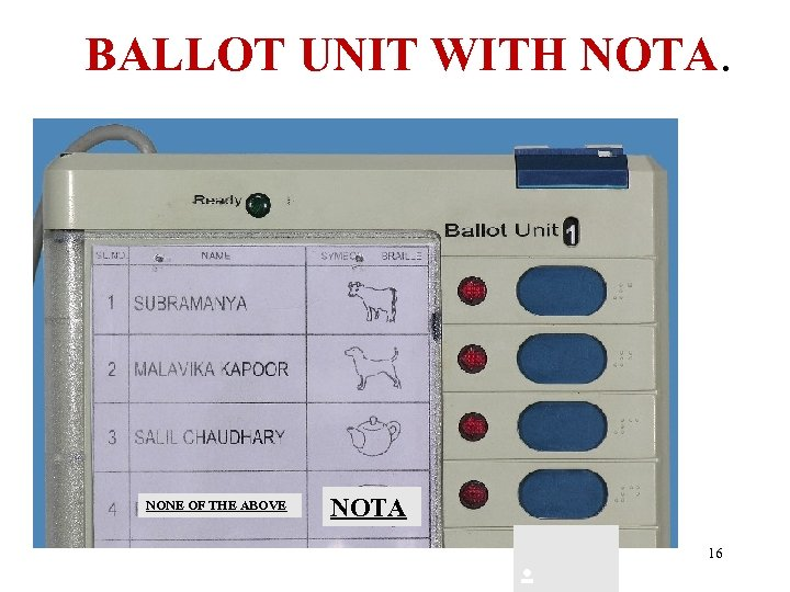 BALLOT UNIT WITH NOTA. NONE OF THE ABOVE NOTA . 16