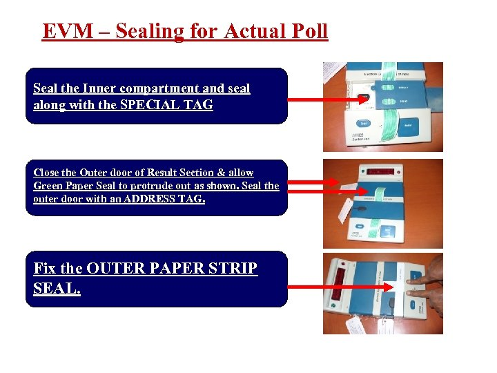 EVM – Sealing for Actual Poll Seal the Inner compartment and seal along with