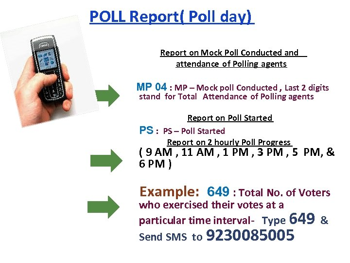 POLL Report( Poll day) Report on Mock Poll Conducted and attendance of Polling agents