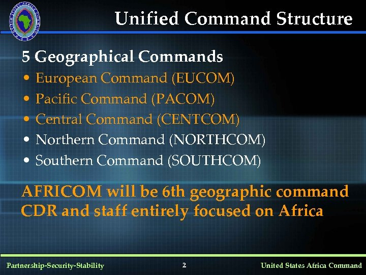 Unified Command Structure 5 Geographical Commands • • • European Command (EUCOM) Pacific Command