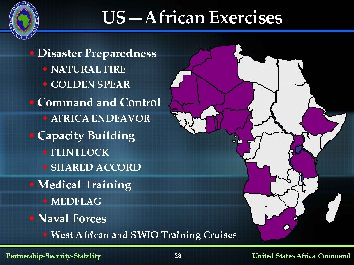 US—African Exercises • Disaster Preparedness • NATURAL FIRE • GOLDEN SPEAR • Command Control