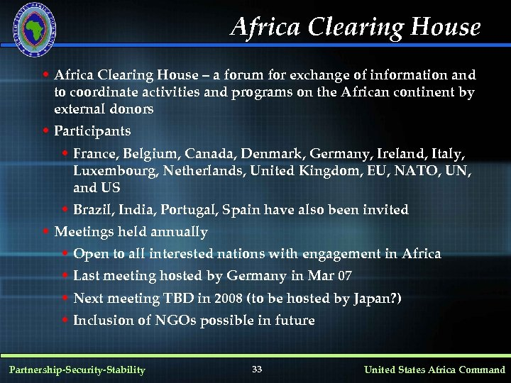 Africa Clearing House • Africa Clearing House – a forum for exchange of information