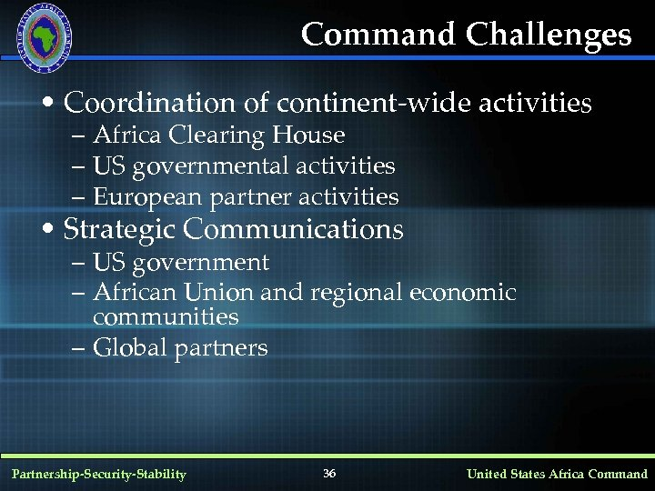 Command Challenges • Coordination of continent-wide activities – Africa Clearing House – US governmental