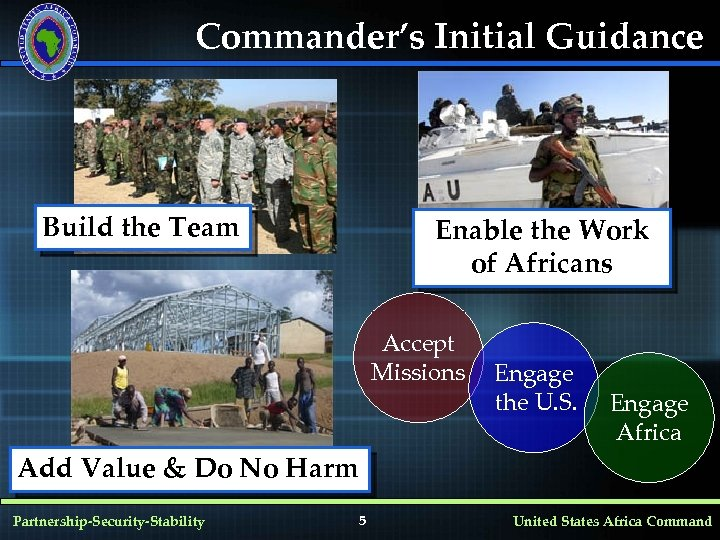 Commander's Initial Guidance Build the Team Enable the Work of Africans Accept Missions Engage