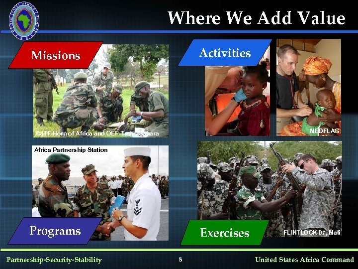 Where We Add Value Activities Missions MEDFLAG CJTF-Horn of Africa and OEF-Trans-Sahara Africa Partnership