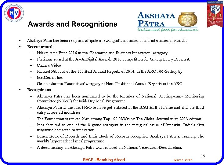 Awards and Recognitions • • • Akshaya Patra has been recipient of quite a