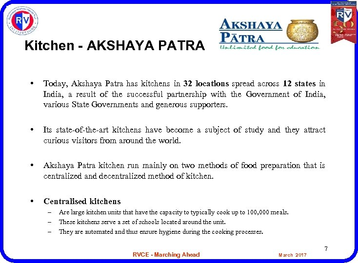 Kitchen - AKSHAYA PATRA • Today, Akshaya Patra has kitchens in 32 locations spread