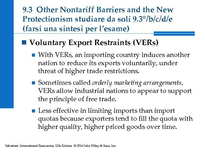 9. 3 Other Nontariff Barriers and the New Protectionism studiare da soli 9. 3°/b/c/d/e
