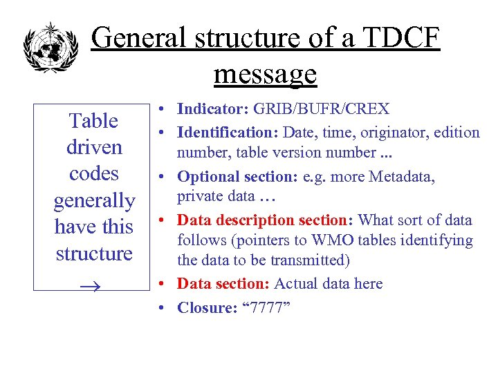 General structure of a TDCF message Table driven codes generally have this structure •