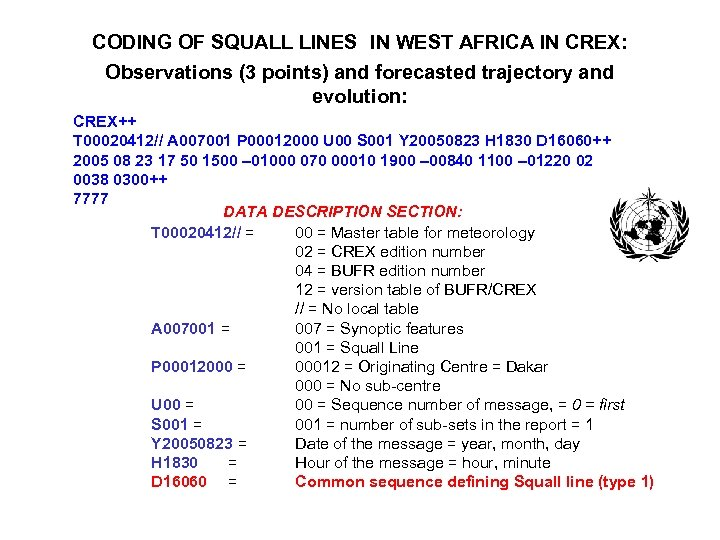 CODING OF SQUALL LINES IN WEST AFRICA IN CREX: Observations (3 points) and