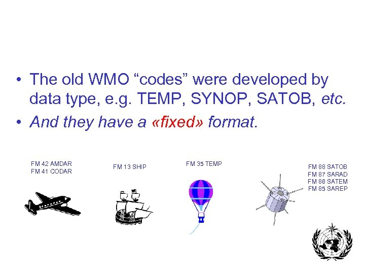 "• The old WMO ""codes"" were developed by data type, e. g. TEMP,"