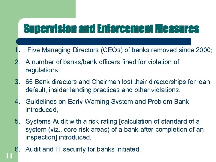 Supervision and Enforcement Measures 1. Five Managing Directors (CEOs) of banks removed since 2000;