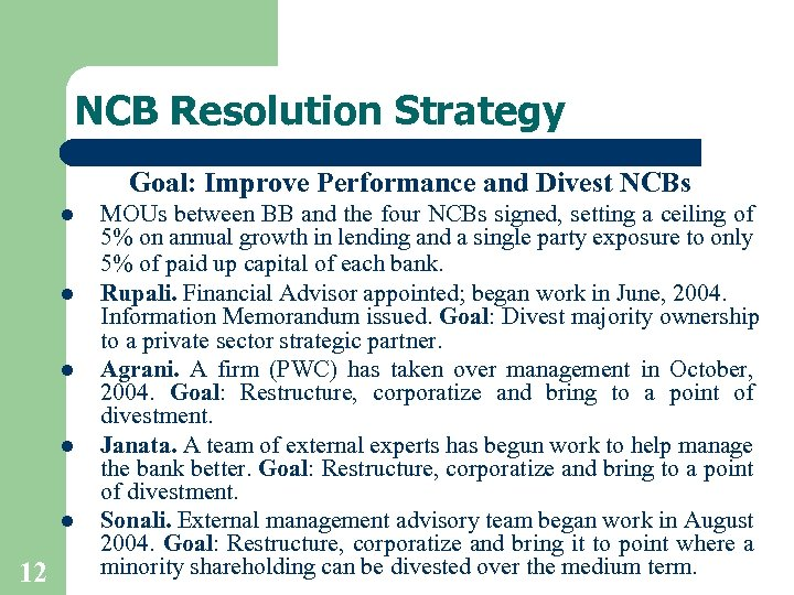 NCB Resolution Strategy Goal: Improve Performance and Divest NCBs l l l 12 MOUs