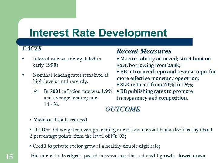 Interest Rate Development FACTS • • Recent Measures • Macro stability achieved; strict limit