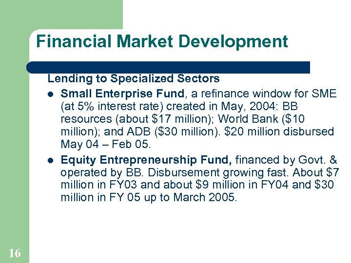 Financial Market Development Lending to Specialized Sectors l Small Enterprise Fund, a refinance window