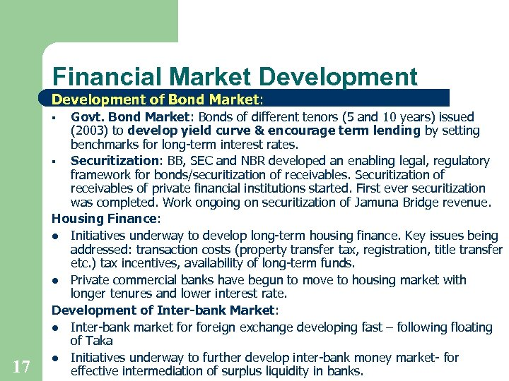 Financial Market Development of Bond Market: Govt. Bond Market: Bonds of different tenors (5