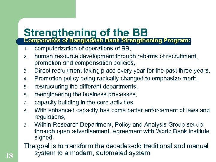 Strengthening of the BB Components of Bangladesh Bank Strengthening Program: 1. computerization of operations